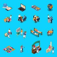 Travel Agency Isometric Icons Vector Illustration