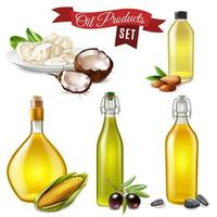 Realistic Oil Product Set Vector Illustration