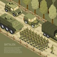 Isometric Military Campaign Background Vector Illustration