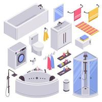 Bathroom Isometric Set Vector Illustration