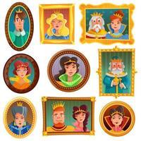 Royalty Portrait Wall Vector Illustration