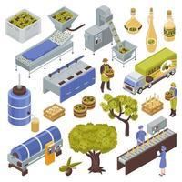 Ilustración de vector de conjunto de producción de aceitunas