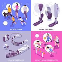 Bionic Prosthesis Isometric Concept Vector Illustration