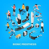 Bionic Prothesis Isometric Composition Vector Illustration