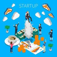 Business Startup Isometric Composition Vector Illustration