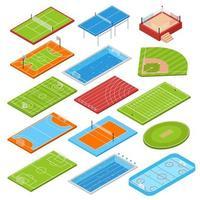Sport Fields Isometric Set Vector Illustration