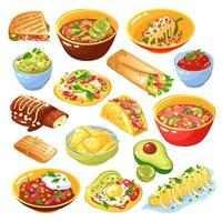comida mexicana set vector illustration