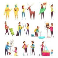 Eco Volunteering Cartoon Set Vector Illustration