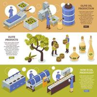 Ilustración de vector de banners horizontales de aceite de oliva