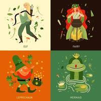 bosque, cuento de hadas, caracteres, concepto, iconos, conjunto, vector, ilustración vector