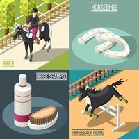 Ilustración de vector de concepto de diseño de deporte ecuestre 2x2