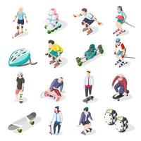 Roller And Skateboarders Isometric Icons Vector Illustration