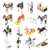 Horse Riding Isometric Icons Set Vector Illustration