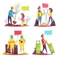 Eco Volunteering Cartoon Design Concept Vector Illustration