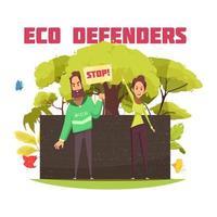 Eco Defenders Cartoon Composition Vector Illustration