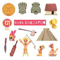 Ilustración de vector de conjunto de civilización maya