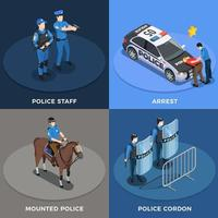 Police Concept Icons Set Vector Illustration