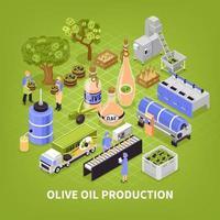 Ilustración de vector de cartel de producción de aceite de oliva