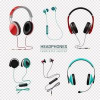 Headphones Realistic Set Vector Illustration