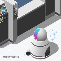 Robotized Hotels Isometric Background Vector Illustration