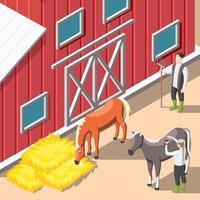 Horse Breeding Isometric Background Vector Illustration