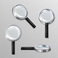 Realistic Magnifying Glasses Set Vector Illustration