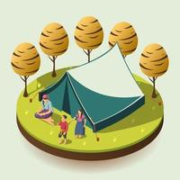 Gypsy Camping Isometric Design Concept Vector Illustration