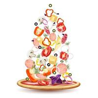 Pizza Toppings Pile Composition Vector Illustration