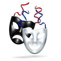 comedia realista tragedia máscaras ilustración vectorial vector