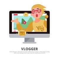 Ilustración de vector de ilustración de fondo de vlogger