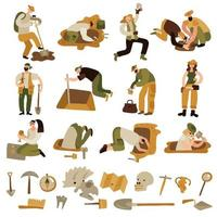 Archeology Icons Set Vector Illustration