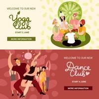 Banners de fiesta de club establecen ilustración vectorial vector