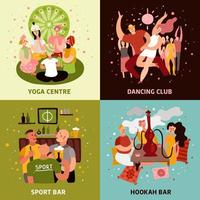 Club Party Concept Icons Set Vector Illustration