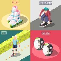 Roller And Skateboarders 2x2 Design Concept Vector Illustration
