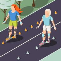 Two Young Women Riding On Rollers Vector Illustration