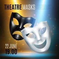 Ilustración de vector de composición de anuncio de máscaras teatrales