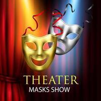 Ilustración de vector de composición de teatro de cortinas rojas