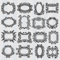 Set of vintage frames Retro decorative borders vector