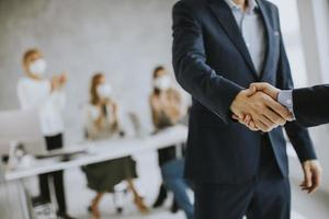 Close-up of a business handshake photo