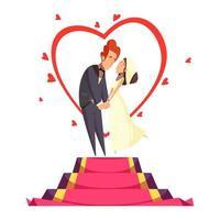 Ilustración de vector de composición de dibujos animados de recién casados