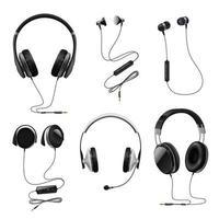 Headphones Realistic Set Vector Illustration