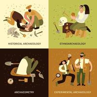 Archeology Concept  Icons Set Vector Illustration