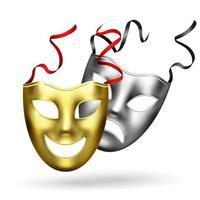 Ilustración de vector de composición de máscaras de oro realista