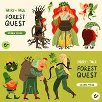 Forest Fairy Tale Characters Banners Set Vector Illustration