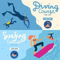 Sea Activities Banners Set Vector Illustration