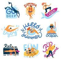 Sea Activities Emblems Set Vector Illustration