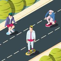 Ilustración de vector de fondo urbano de skate