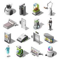 Robotized Hotels Isometric Icons Vector Illustration