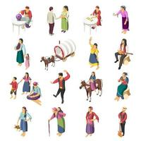 Gypsies Isometric Icons Set Vector Illustration