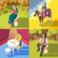 Gypsies Isometric 2x2  Design Concept Vector Illustration
